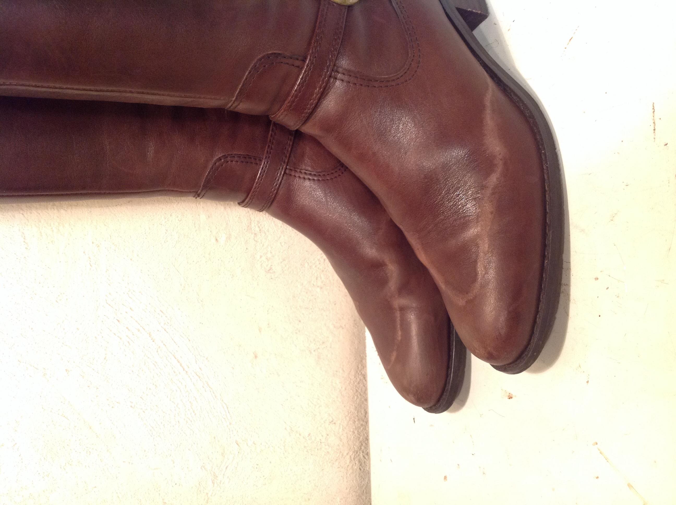 レディースブーツ 雨染み、塩吹き 靴クリーニング